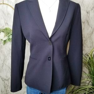 Tahari Arthur Levine Blazer Navy Button Up